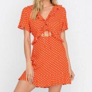 LUSH Polka Dot Midriff Cutout Ruffle Dress EUC
